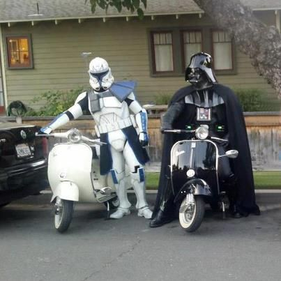 Darth Vader and a Republic Clone Trooper with their Vespa Scooters. | Star Wars | #Scooter #VespaLove #ScooterLove