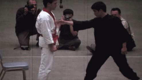 Not only one punch but the concentration Bruce Lee must have had!