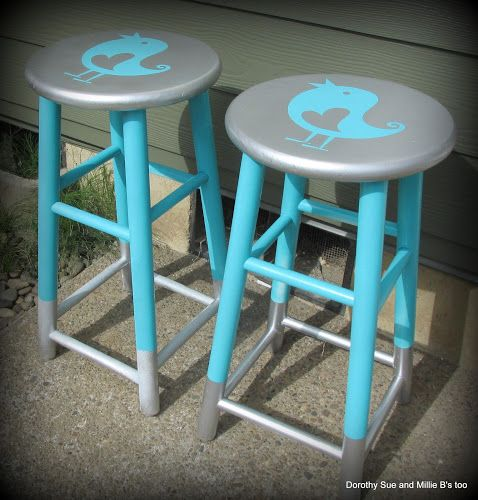 Look at the cute Silver Dipped Stools I painted over the weekend using my Silhouette Portrait!        I've been debating what to do with th...