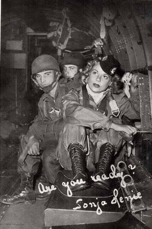 Sonja Henie, Norwegian figure skater and film star. She was godmother of the 508th PIR, 82nd Airborne Division. She even jumped with them during practice.