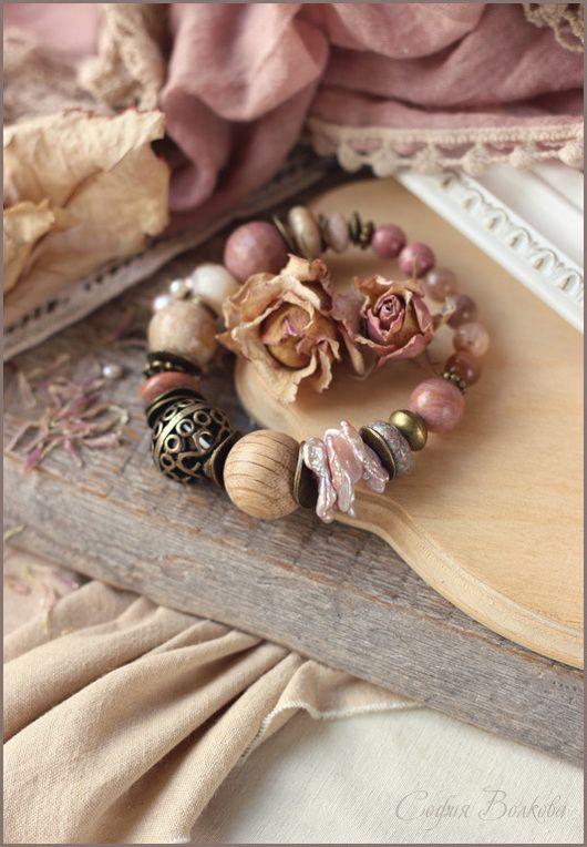 """Браслеты ручной работы. Ярмарка Мастеров - ручная работа. Купить Браслет """"Мечтательная"""". Handmade. Браслет, пыльно-розовый, агат"""