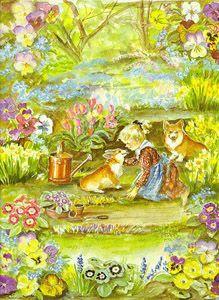 """Spring,"" Victoria Magazine (1996) - Tasha Tudor  - I have this Tasha Tudor artwork hanging on my wall!"