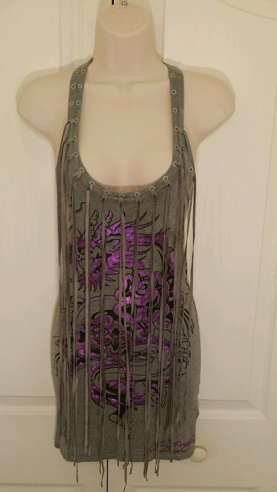 Check out the other items @ Every2ndCounts Ebay Store! New Items Every Week Ed Hardy by Christian Audigier Fringe Tank Top  Don Ed Hardy Designs size XS #EdHardy #GraphicTank