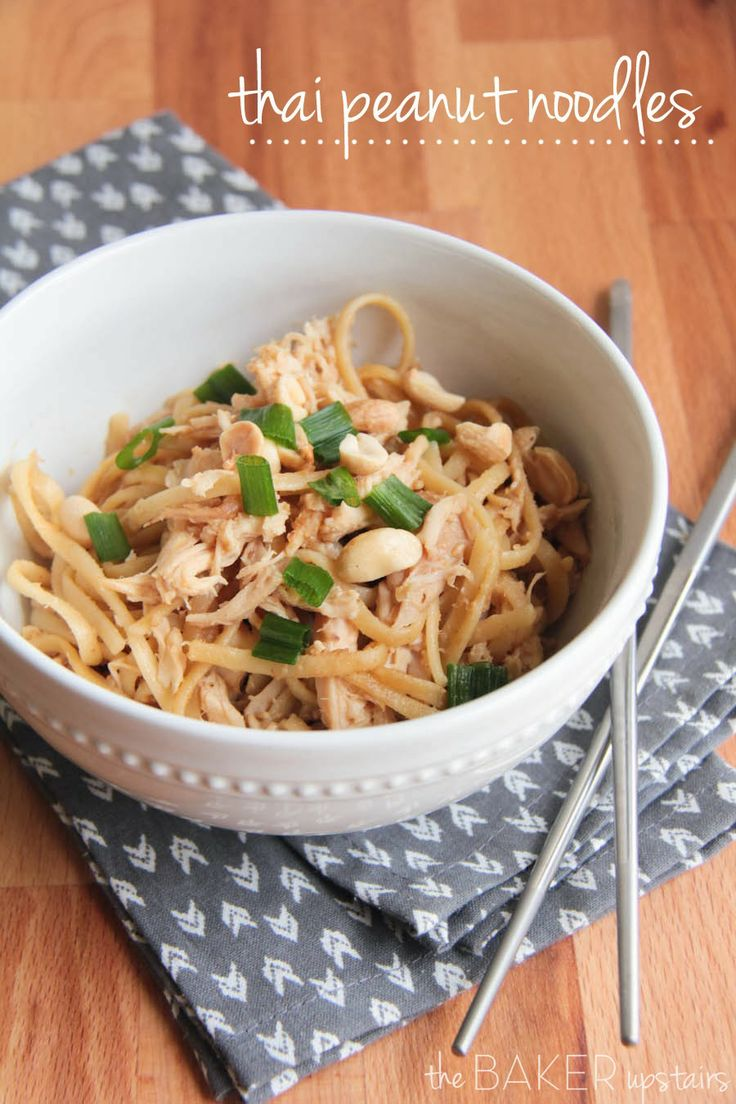 Thai peanut noodles from The Baker Upstairs. A delicious and easy meal that's ready in under 30 minutes and full of flavor! www.thebakerupstairs.com