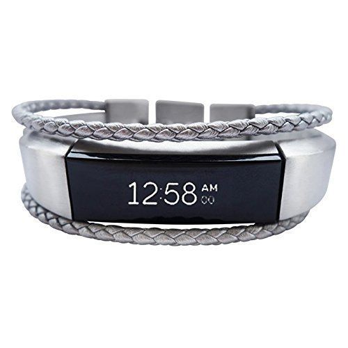Fitbit Alta Bracelet Aurel - Silver - stainless steel - real leather - Jewelry for Fitbit Alta - Fitbit Alta Band - Fitbit Alta Accessories - Fitbit Alta Leather Band (No Tracker)