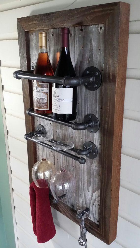 Wine Rack, Reclaimed Wood, barn wood, Industrial, pipe