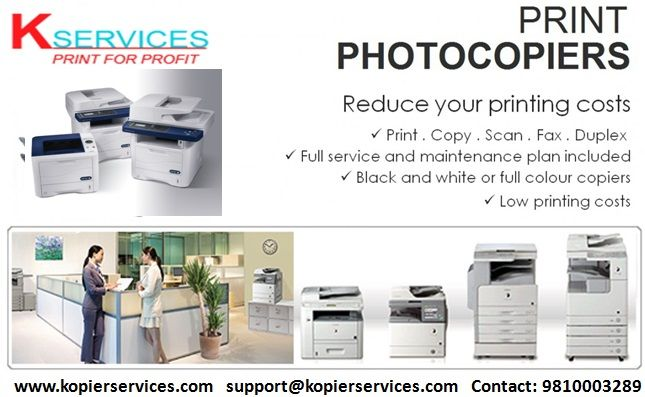 Photocopier machines are costly & maintenance is also very difficult for any individual. So, now we have come to offer these machines on rental basis as which includes free maintenance, toner, spare parts, consumables, service charges. We have both colour and Black & White machines of Canon, Xerox, Konica Minolta etc. For more rental scheme benefits:  Visit us at: http://www.kopierservices.com/ Call us at: 9810003289 Mail us at: support@kopierservices.com