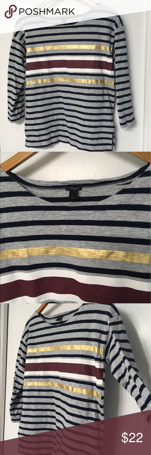 J Crew Foil Stripe T-Shirt grey red navy gold Adorable striped shirt from J Crew, size small. Top is in excellent condition with no rips, stains, or flaws! Please check out my other listings as well as I do offer a bundle discount! J. Crew Tops Blouses