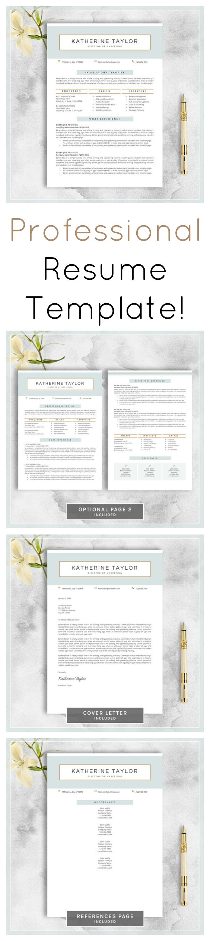 LOVE this stylish and modern resume template set!!  Adapt it and move your career ahead. Professional Resume Template, CV Template for MS Word, Creative Resume, Modern Resume Design, Resume Instant Download #ad