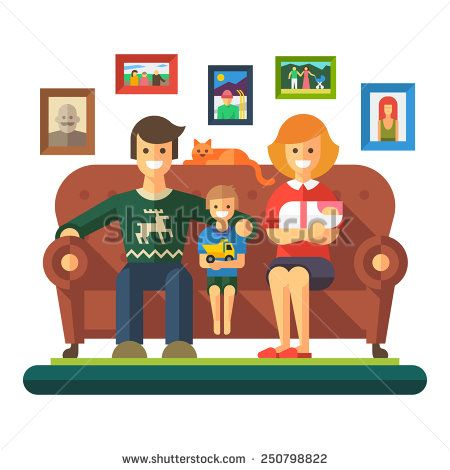 Happy family: cheerful child, father, mother sit on couch. Vector flat illustration  - stock vector