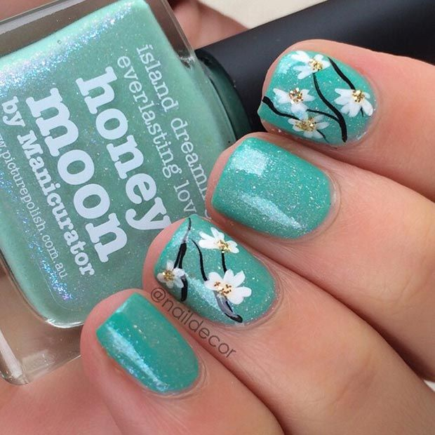 Flower Turquoise Nail Design for Short Nails