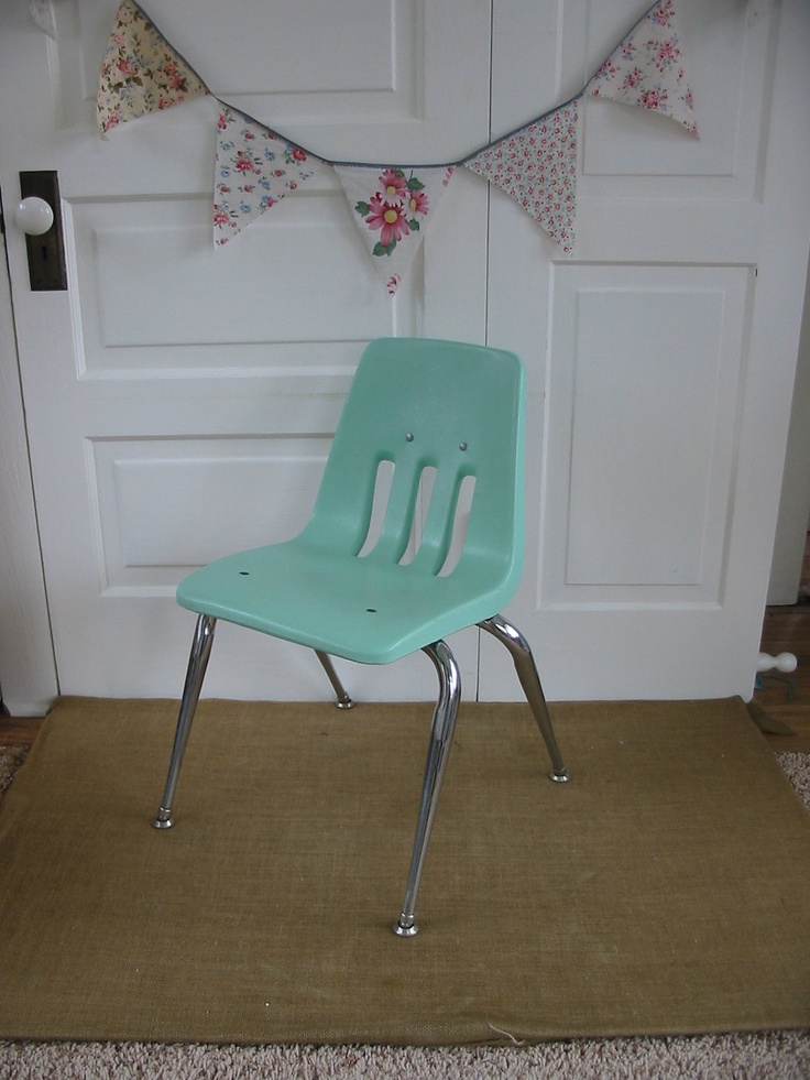 Vintage Children Chair Furniture Nursery Girl Boy Baby Blue Green