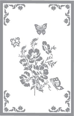 Glass etching stencil of Floral Design with Butterflies and Border. In category: Birds & Flowers, Flowers, Other Wildlife