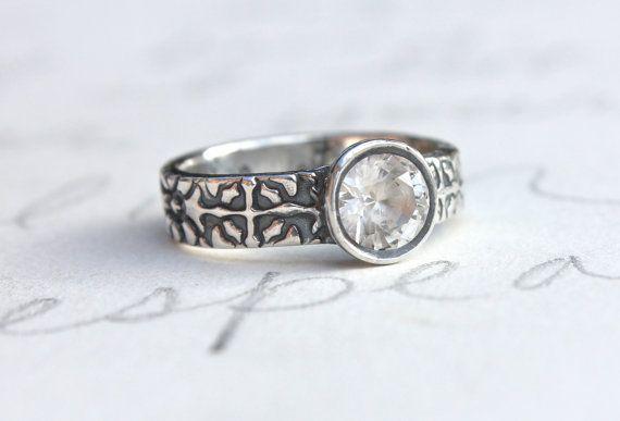 white sapphire engagement ring . unique by peacesofindigo on Etsy, $683.00