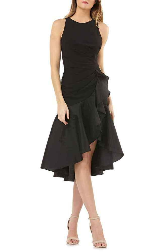 d02eeb8815af CARMEN MARC VALVO INFUSION Crepe Contrast Ruffle Cocktail Dress (size 10)  #affilink