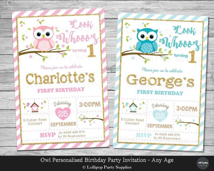 Owl Personalised Invitations - Any Age - Digital or Printed - Ship Worldwide.  www.lollipoppartysupplies.com.au
