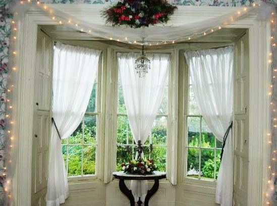 26 graceful curtain ideas for window treatment ideas glorious three white curtain ideas and classy dark wooden round desk as decorate christmas white