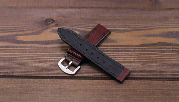 Burgundy leather watch strap 18 20 22 24mm of vegetable