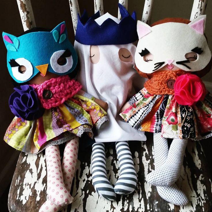 """ Happy Halloween From Your Friends at SpunCandy!!  #spuncandydolls #handmadedolls #etsyseller #etsyforkids #etsyshop #clothdoll #happyhalloween"""