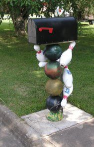 Bowling Ball mailbox post