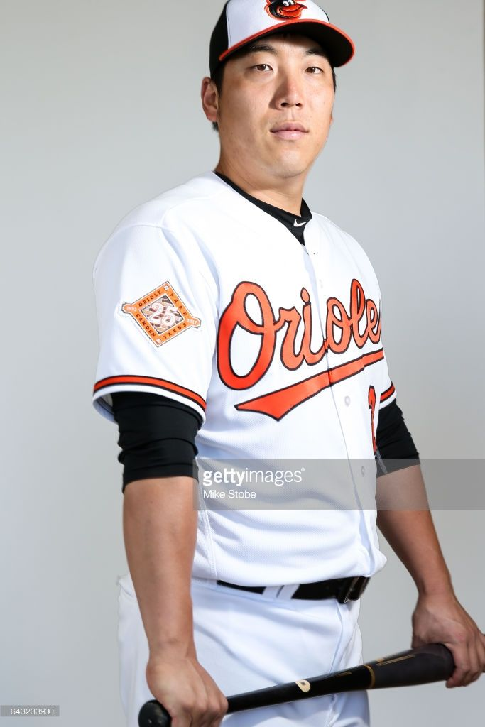 Hyun Soo Kim #25 of the Baltimore Orioles poses for a portait during a MLB photo day at Ed Smith Stadium on February 20, 2017 in Sarasota, Florida.