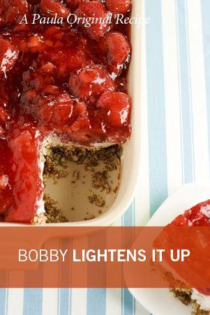 Bobby's Lighter Strawberry Pretzel SaladLighter Version, Lighter Strawberries, Strawberries Pretzels, Healthy Desserts, Bobby Dean, Bobby Lighter, Paula Deen, Bobby Deen, Pretzels Salad