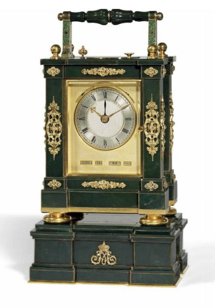A LOUIS-PHILIPPE SILVER-GILT MOUNTED BLOODSTONE GRANDE AND PETITE SONNERIE PRESENTATION CARRIAGE CLOCK WITH ALARM AND QUADRUPLE CALENDAR INDICATIONS BREGUET, NEVEU ET COMPANIE, No.290, SOLD TO PRINCE ANATOLE DEMIDOFF ON 17 April 1844