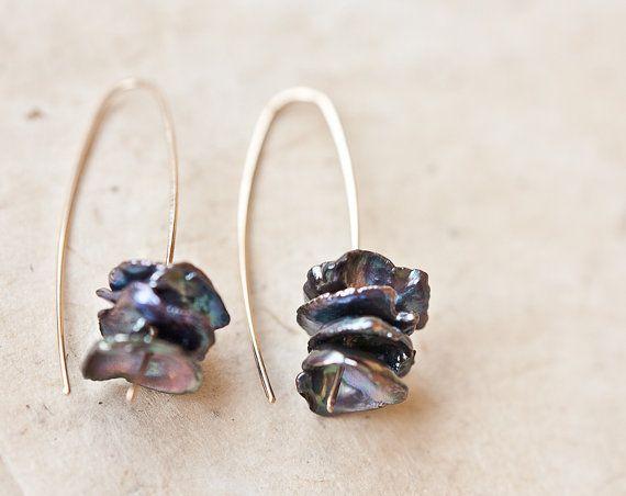 Modern Simple Earrings Keshi Pearl Hook Earrings 14K by daimblond, €24.00
