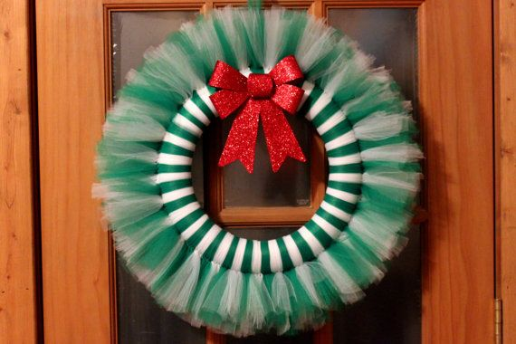 Green & White Tulle Christmas Wreath on Etsy, $30.00