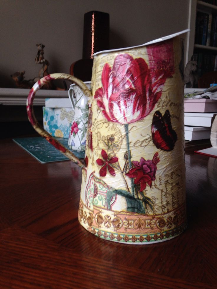 Decoupaged jug