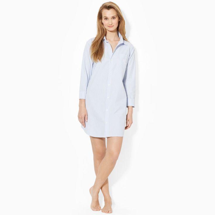 """Ispirata all'abbigliamento maschile, questa camicia da notte in morbidissimo cotone presenta un motivo a righe e il nostro caratteristico monogramma """"LRL"""" ricamato."""