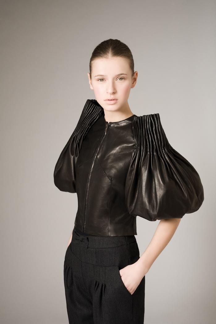 Sculptural 3D Fashion - leather jacket with inventive sleeve construction, gathered textures & bubble hem detail // Josep Font
