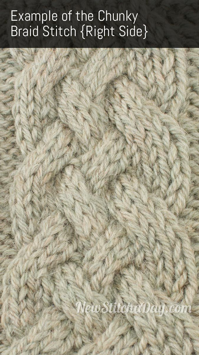 Chunky Braid Stitch - how to knit instructions & video. Simple 8-row cable pattern.  *p*