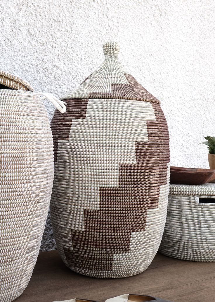 Handmade Laundry Basket (XL) in dark brown & white / Laundry Hamper