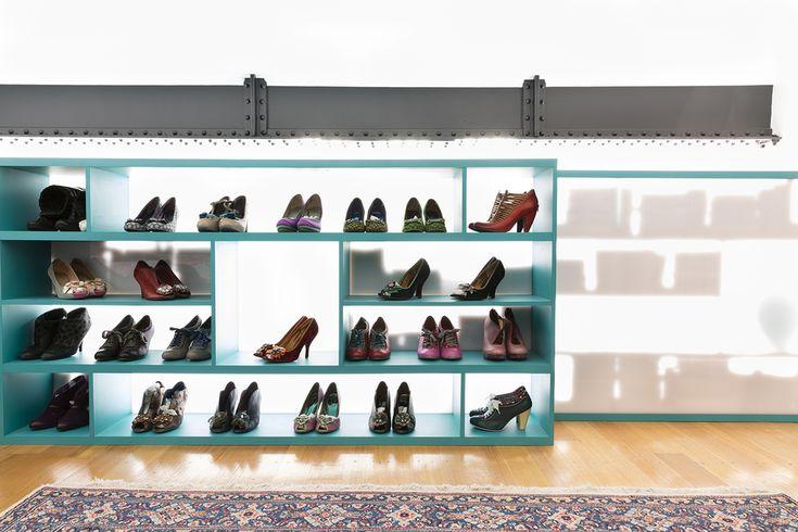 Shoe storage/bookshelf/mezzanine design by interior designer Meredith Lee, photo by Elizabeth Schiavello.