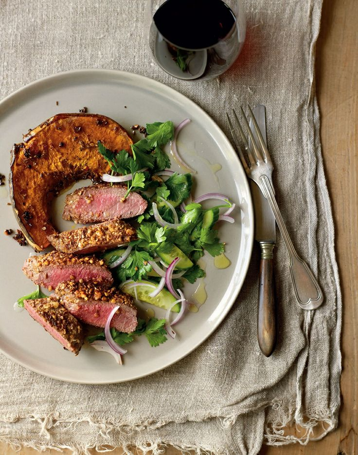 Lamb loin dusted with dukkah with parsley and red onion salad recipe by Jane Kennedy | Cooked