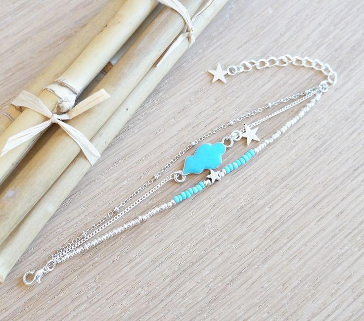 Bracelet Nuage Bleu Etoiles chaine extra fine perles rocailles couleur bleu et argent