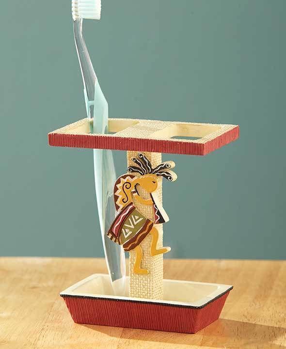 Kokopelli Toothbrush Holder Aztec Santa fe Mesa Fabric Bath SouthWestern Ceramic #Unbranded