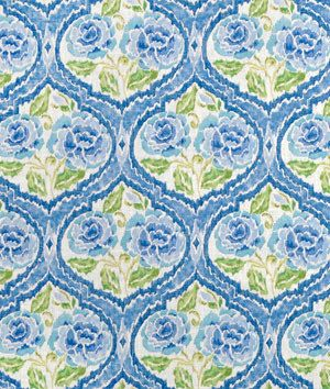 One Custom 52 X 72 Custom Tablecloth   Kaufmann Floral Blue/Yellow Damask