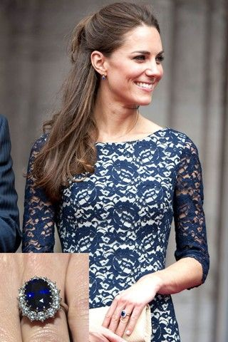 Celebrity Wedding Photos And Pictures - Engagement Rings   Kate Middleton in a stunning sapphire