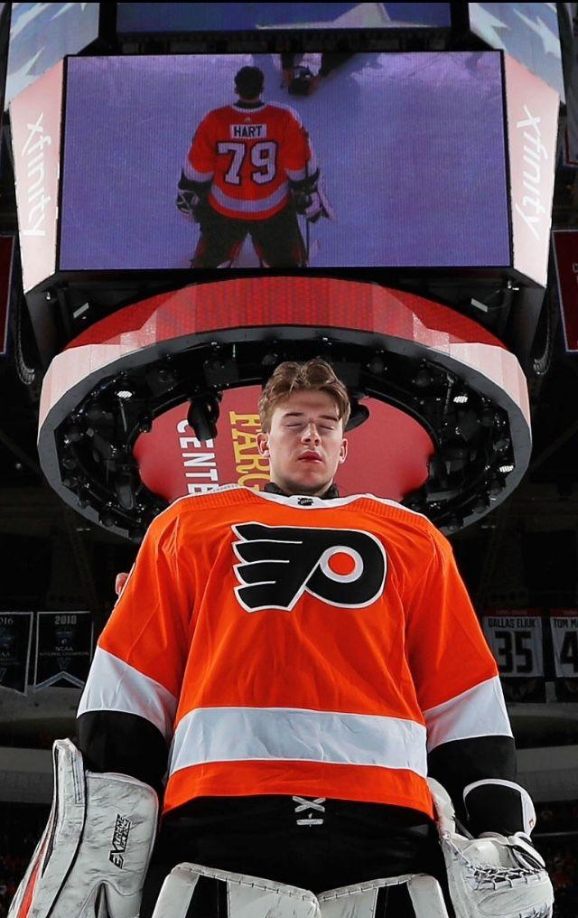 08a7f050b91 Carter Hart. First NHL start