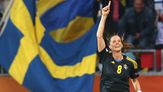 Lotta Schelin of Sweden celebrates after scoring the fourth goal during their UEFA Women's EURO 2013 Group A match against Finland