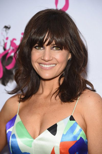 Carla Gugino Medium Wavy Cut with Bangs - Shoulder Length Hairstyles Lookbook - StyleBistro