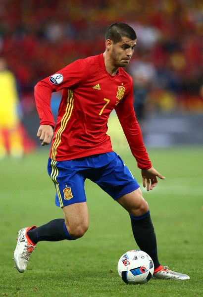 Alvaro Morata of Spain in action during the UEFA EURO 2016 Group D match between Spain and Turkey at Allianz Riviera Stadium on June 17, 2016 in Nice, France.