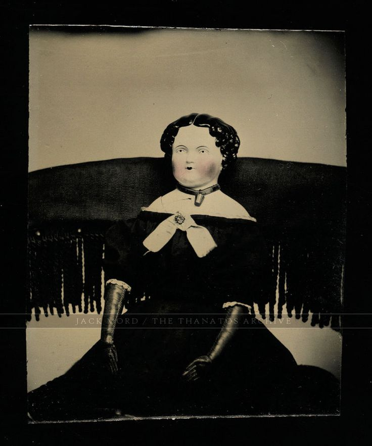 amazing antique 1860s miniature tintype photo china head doll in chair - creepy!