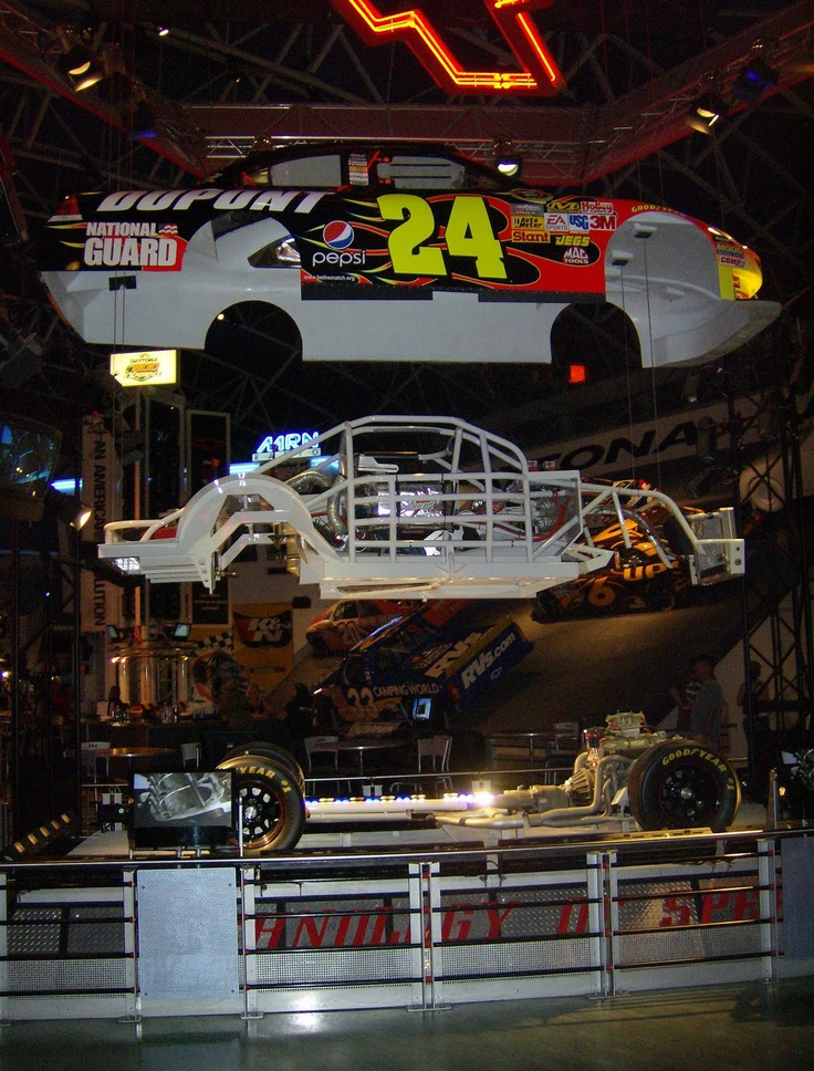 Jeff Gordon's life sized exploding car at the Daytona 500 Experience museum. The car started out looking like a normal race car, then was pulled apart so you could see the inner working. I provided some paint masks, but they used actual car graphics for most of it.