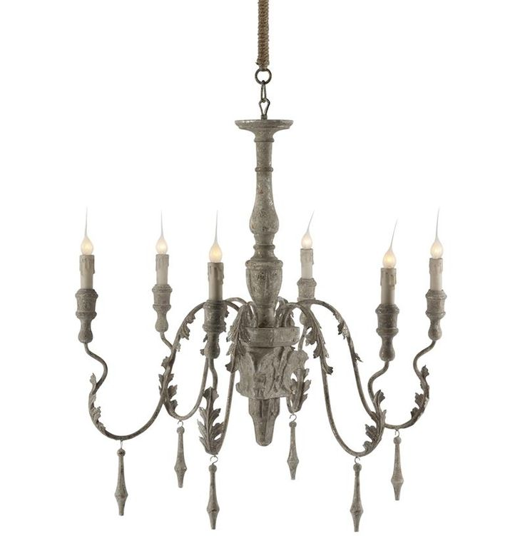 Charlemagne French Country Grey Wash 6 Light