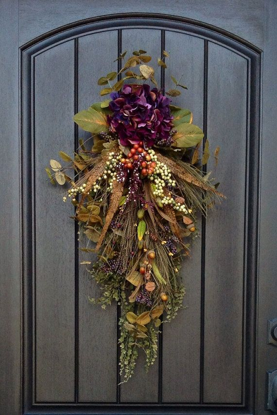 "Fall Wreath-Autumn Wreath-Holiday-Fall Teardrop Wreath- Vertical Door Swag-Fall Decor-Use Year Round..""Plum Sensation"" on Etsy, $85.00"