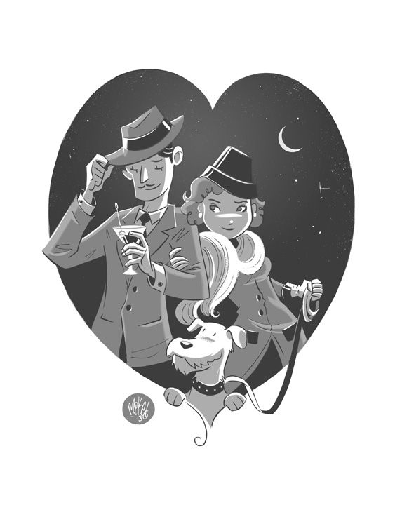 Nick and Nora by *mikemaihack. Commission for Nick and Nora Charles (with Asta) from the Thin Man series of films.