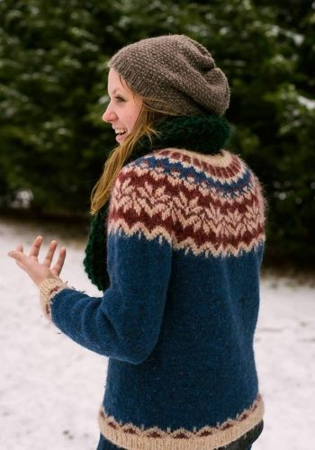 http://www.istex.is/Files/Skra_0051195.pdfFree fair isle sweater pattern. This is the fourth one I've made, the second of this specific pattern.The scarf and hate were made up as I went. No pattern necessary.